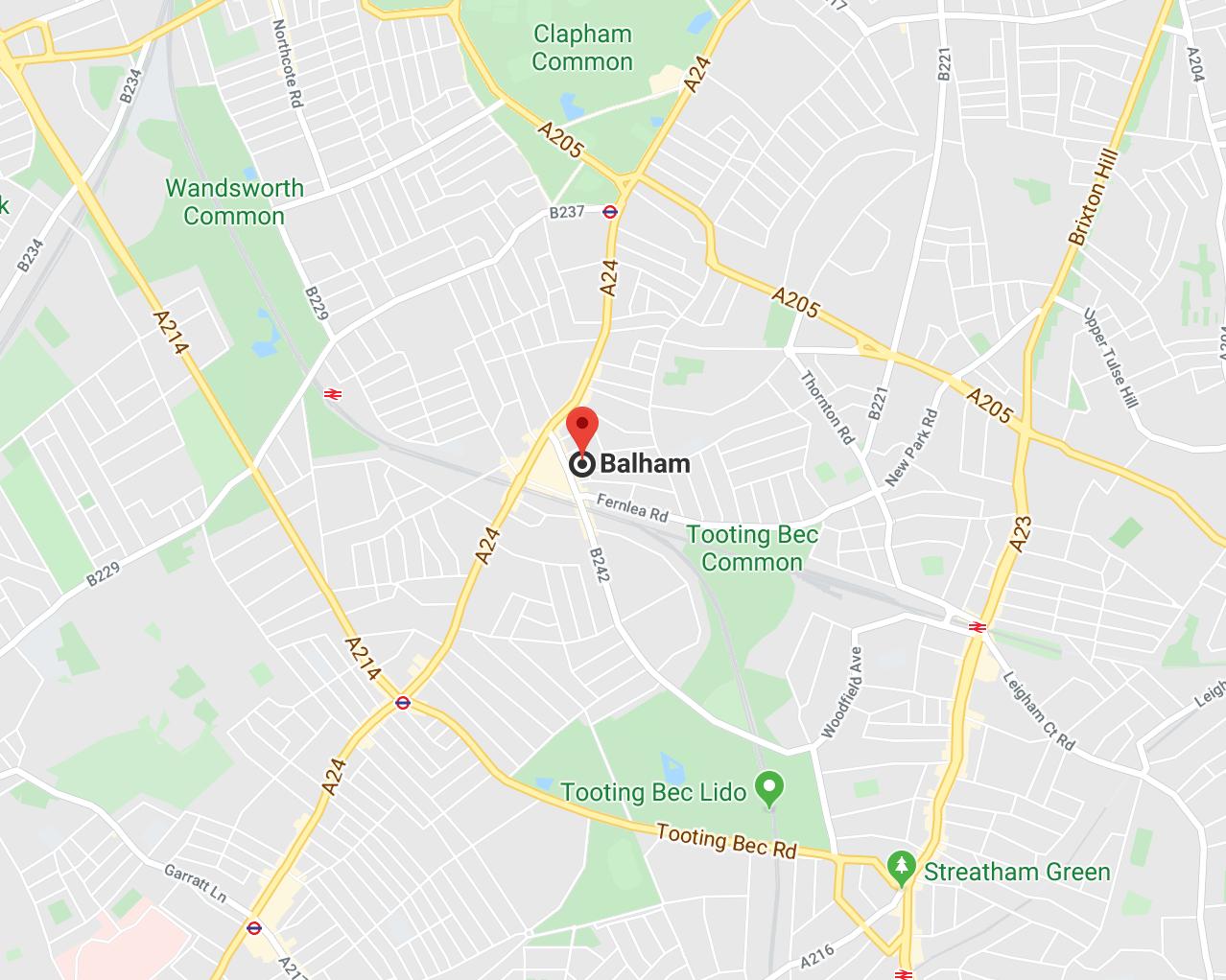 Balham SW12 London Map